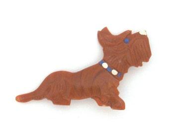 Dog, Vintage plastic badge, Scottish Terrier, Soviet Vintage Pin, Vintage Badge, Made in USSR