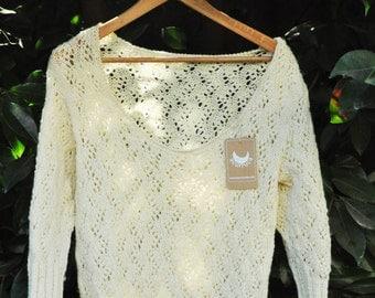 Merino wool sweater, 3/4 sleeve sweater, women's sweater