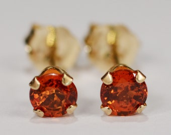 Orange Sapphire Earrings~14 KT Yellow Gold Setting~4mm Round~Genuine Natural Mined