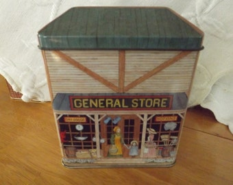 Vintage The Tinsmith's Craft General Store Tin with Hinged Lid