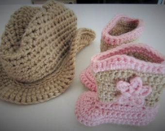 Crochet cowboy hat and boots set, cowboy hat, cowboy boots, cowgirl hat, pink cowgirl boots, baby cowboy hat, baby cowboy boots, photo prop