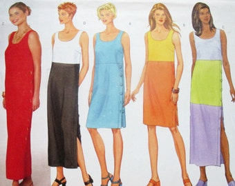 Butterick 5582 ~ Fast & Easy Linen Color Block Tank Dress with Raised Waist and Buttoned Side Slit SIZE 6-8-10 UNCUT Sewing Pattern