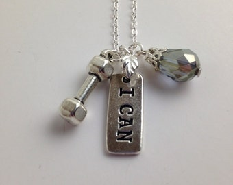 "I CAN Word Charm Empowerment Necklace on 18"" Silver Plated Chain"