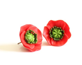 Red Poppy Earrings - Stud Earrings - Red Earrings - Poppies Studs - A perfect gift for her, Bridesmaid Jewelry,Flowers Girl Jewelry