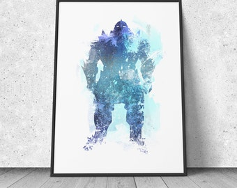 Alphonse Elric, Armor, FMA, Full Metal Alchemist inspired, watercolor illustration, giclee art print, silhouette, anime, wall decor