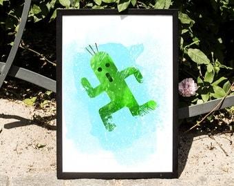 Final Fantasy, Cactuar, watercolor illustration, giclee art print, video games decor, wall decor