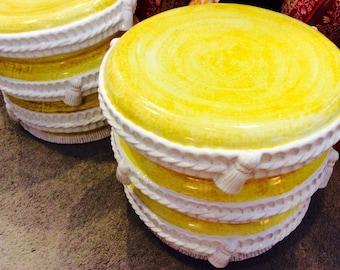 PAIR Lemon Yellow Garden Stools, Heavy Ceramic Rope U0026 Tassel Stools, French  Bohemian Chic
