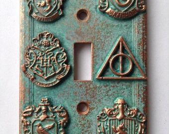 Harry Potter (House Crests) - Light Switch Cover - Aged Copper/Patina or Stone