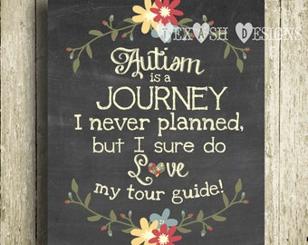 Autism Journey Chalkboard Wall Art - Digital Download