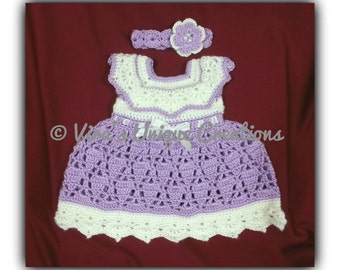 Crochet baby girl dress with matching headband, baby girl dress, crochet baby dress, baby crochet dress, crochet baby props, made-to-order