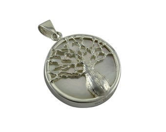 Sterling Silver Boab Tree of Life Reversible Pendant with Mother of Pearl Insert