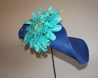 "Kentucky Derby Hat, Blue women's hat, ""Trophy Topper"" widebrim straw hat"