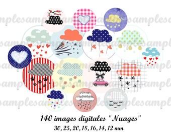 Digital collage sheet cloud, digital image, bottle cap, one inch circle design for pendant, scrapbooking, instant download, digital collage