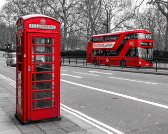 London Icons Print, Red Phone Booth, London Phone Booth, London Art, London Bus, Red Bus