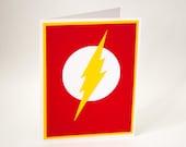 Flash, Superhero blank card, DC Comic Art Card, minimalist comic art greeting card