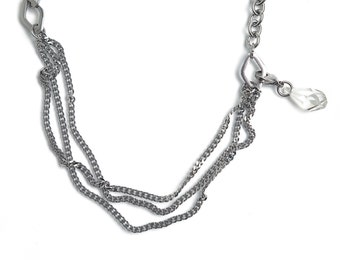 Stainless Steel Versatile Necklace with Swarovski Crystal