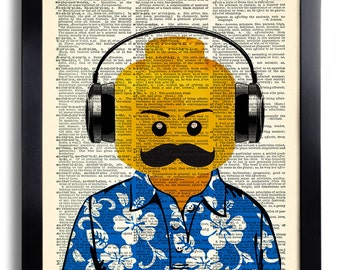 Toy Head Mustache Deejay Headphone Art Print ,Vintage Book Print ,GEEKERY ,College DORM Decor ,Funny OFFICE Art ,Dictionary Page Art 506