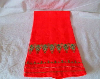 Monk's Cloth embroidery huck weave hemstitching Swedish weaving pattern Guest Bath Towel Vintage Sweden Bright Coral with Green