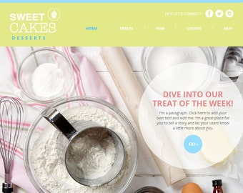 Premade Website template - DIY Bakery Web Design - SEO HTML5 Wix - Bakery WIX Template - Green and Blue - Baker Theme - Clean Bakery Site