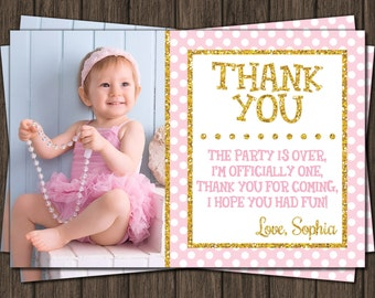 Pink and Gold Thank You Card - First Birthday Thank You Card