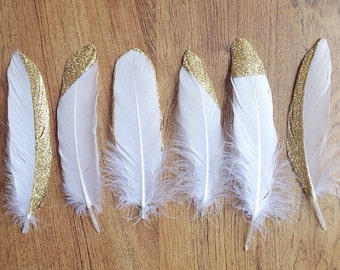 Gold Tipped Feathers (set of 10)