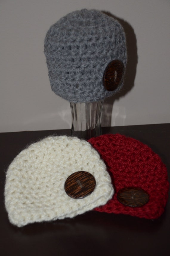 Crochet Chunky Newborn Hat with Button Crochet hat with