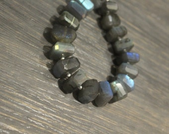 "AAA labradorite faceted rondelle gemstone beads, fancy shape 8""inches 13mm-15mm"