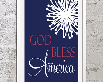 Digital Print God Bless America Sign Red White Blue Independence Day 4th of July Fireworks Decor Wall Art