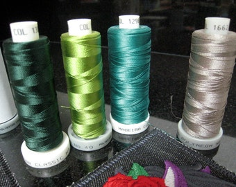 Set of 6 spools - Assorted Rayon and Polyneon Madeira Embroidery Thread