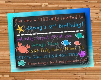 Fish Printable Birthday Invitation