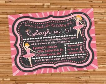 Ballerina Printable Birthday Invitation (Many Ballerinas available)