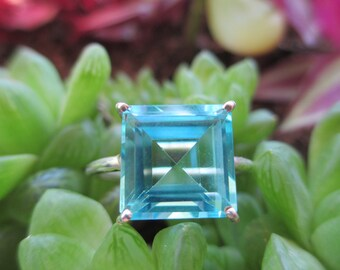 Faceted Blue Quartz Ring - 925 Sterling Silver Ring Jewelry - Size 9.5