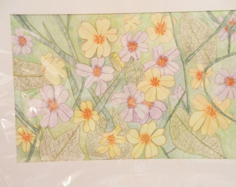 Masses of Yellow and Purple flowers-w/c pencil- 24x18 #3064