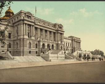 Washington. West façade Library of Congress 1898. Vintage photo postcard reprint 8x10-up. Library of Congress Thomas Jefferson Building