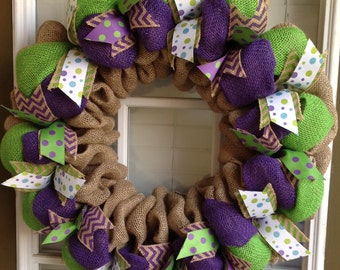 Burlap Wreath - Welcome Wreath - Summer Wreath - Door Wreath - Summer Wreath for Door - Fall Wreath - Door Decor - Spring Wreath