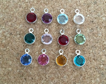 One SWAROVSKI CRYSTAL Channel Drop - Silver-Plated, Add-On - Birthstone, Choose Color, with or without silver-plated jump or split ring