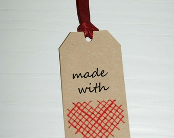"""Label cross stitch """"made with love"""", Kraft Paperboard, Labels, produced 15 pcs"""