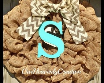 Chevron Burlap Wreath - Spring Wreath - Summer Wreath - Aqua Turquoise  Wreath - Summer wreath for door- Gift Idea - Dorm - Birthday Gift -