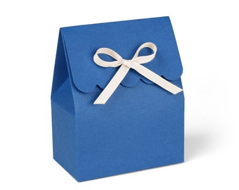 Royal Blue Favor Boxes with Ivory Ribbon // Set of 8
