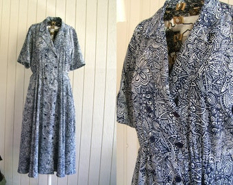 Vintage Liz Claiborne Dress | Double Breasted Blue & White Maxi Dress | size 8