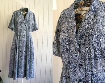 Vintage Liz Claiborne Dress   Double Breasted Blue & White Maxi Dress   size 8