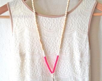 Beaded Tassel Necklace, Wood and Bone Beads, Neon Pink, Beige Tassel