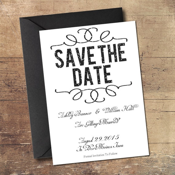 electronic save the date template - printable digital black glitter save the date by