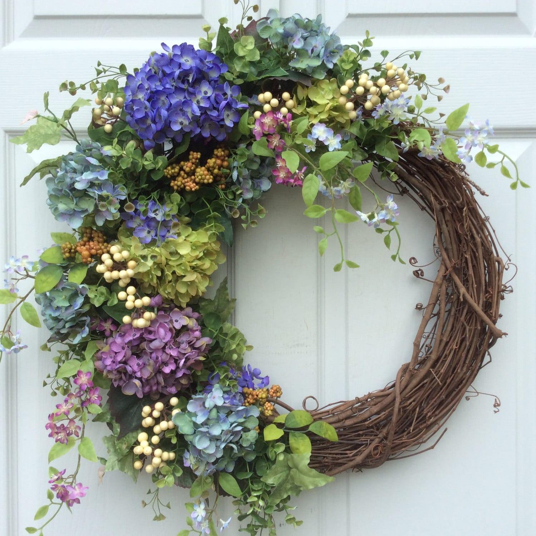 Summer Wreath Hydrangea Wreath Garden By Reginasgarden On Etsy