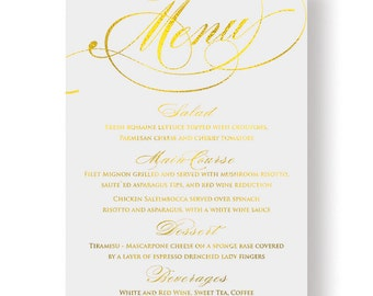 Gold Foil Menu Card - Personalised Gold Wedding Menu Card - Simply Menu Card with Gold Foil by Paper Charms