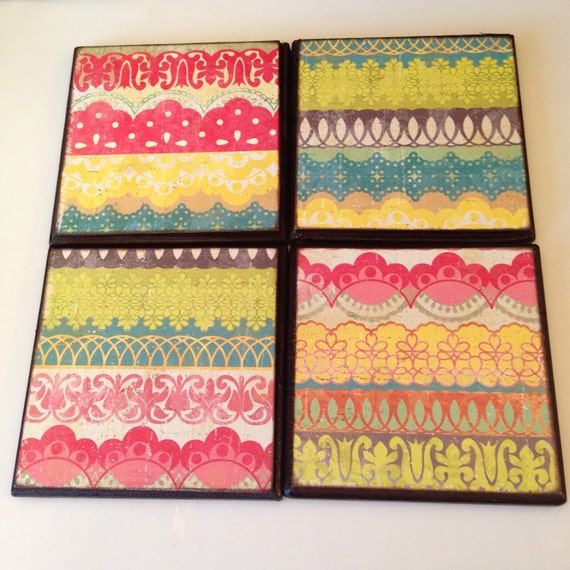 Coasterscolorful Drink Coasters Fun Patterned By