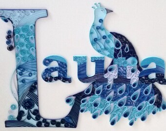 Custom Name Peacock Wall Hanging: Quilling, Art, Wall Decor, Home Decor