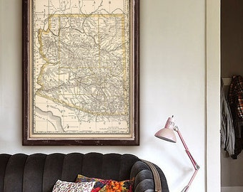 "Arizona Map 1888 Vintage map of Arizona in 2 sizes - 20x27"" (50x70 cm) or 27x40"" (70x100 cm) Arizona state map - Limited Edition - Print 11"