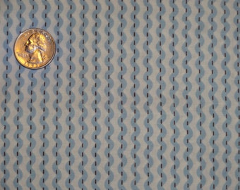 Gray Blue Rick Rack Ric Rac Stripe Cotton Quilting Fabric One Yard Only