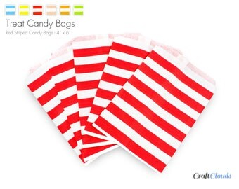 "25 Red Horizontal Stripe Candy Treat Bags - 6"" x 4"""